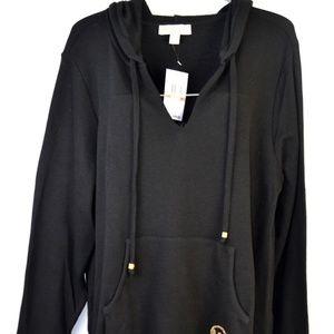 MICHAEL KORS Black Hoodie Pullover Gold Logo 2X